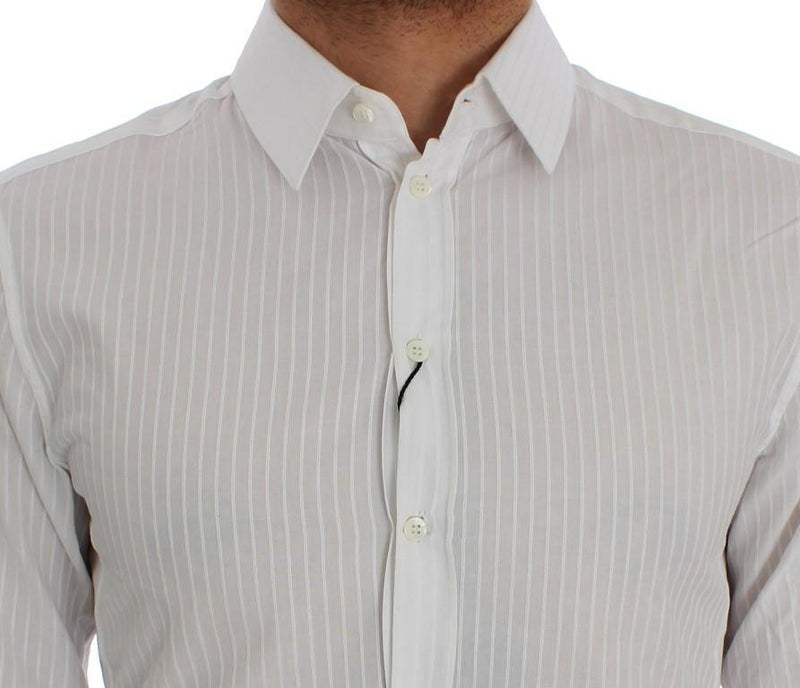 White Striped SICILIA Slim Fit Shirt