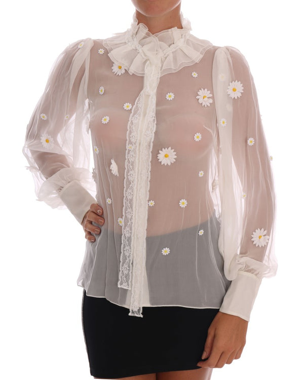 White Daisy Applique Silk Shirt