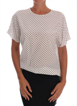 White Polka Dotted Silk T-shirt Top