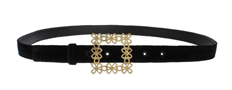 Black Velvet Gold Buckle Waist Belt