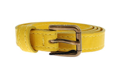 Yellow Leather Gold Buckle Logo Belt