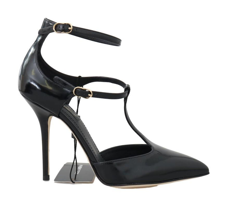 Black Leather Heels Ankle Strap Shoes