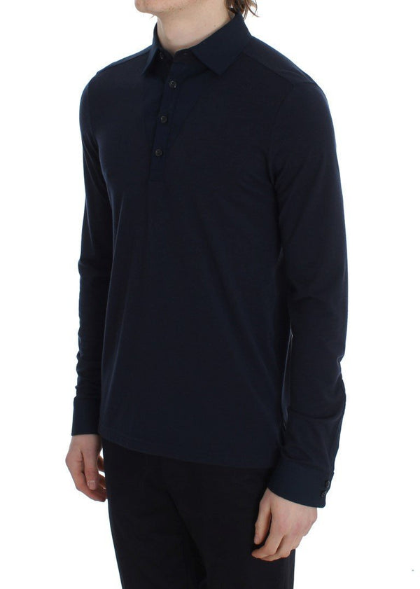 Blue Button Down Polo Sweater