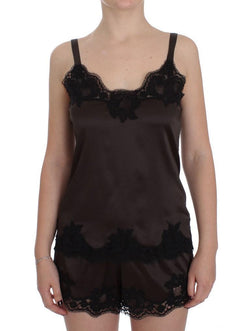 Brown Silk Stretch Lace Lingerie Top