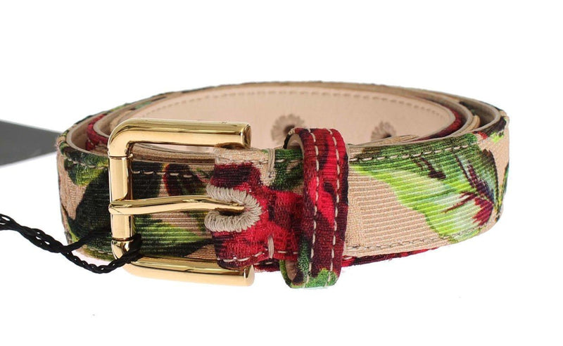 Roses Print Brocade Gold Buckle Belt