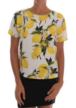 Multicolor Lemon-Print Floral Top Blouse