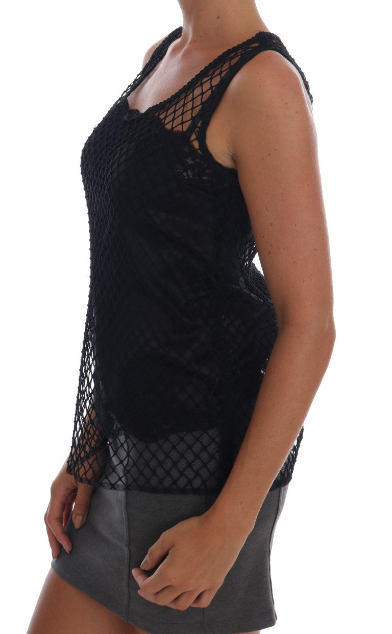 Black Silk Mesh Floral Lace Top