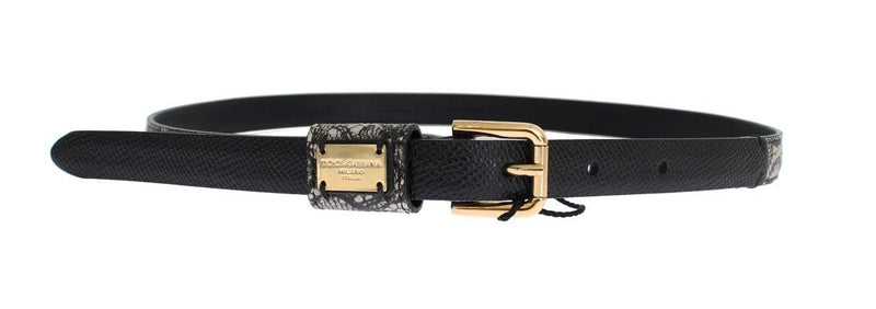 Gray Leather Gold Buckle Logo Waist Belt