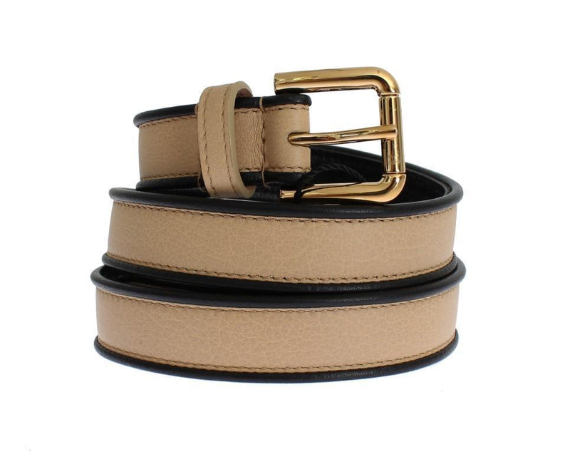 Beige Leather Gold Buckle Logo Waist Belt