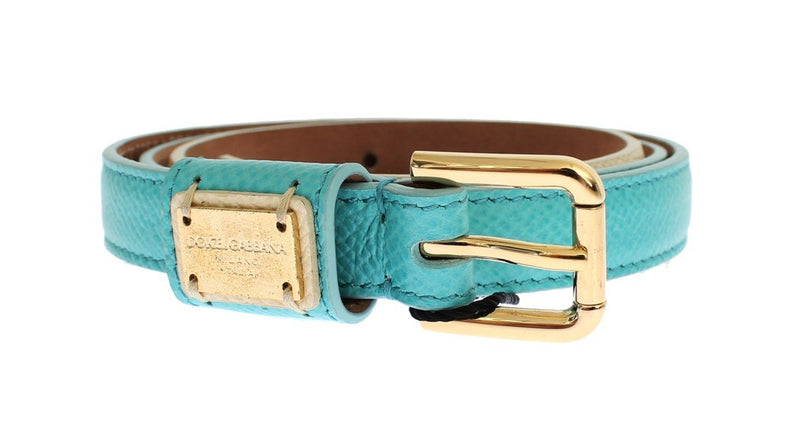 Light Blue Leather Gold Buckle Logo Belt