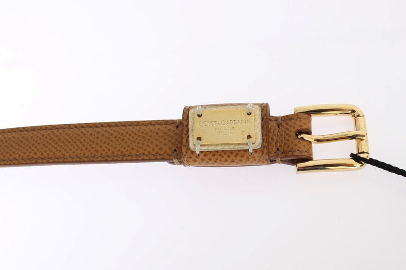 Brown Leather Gold Buckle Waist Logo Belt