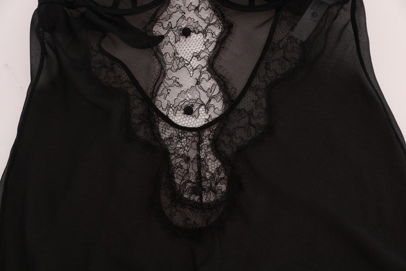 Black Silk Lace Lingerie Top