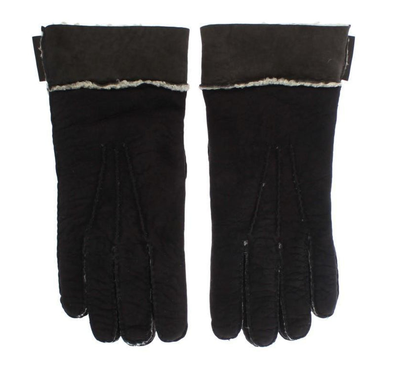 Brown Leather Shearling Gloves