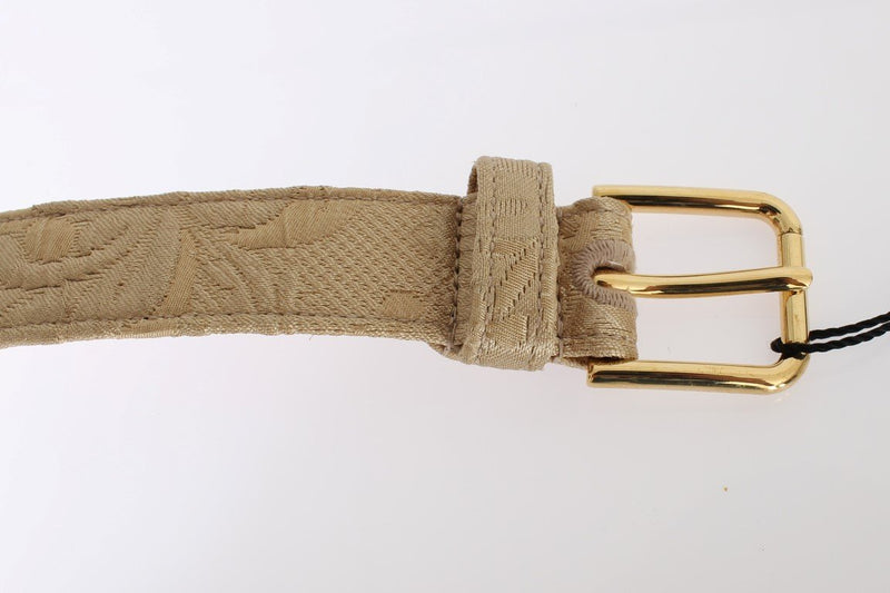 Beige Cotton Brocade Gold Buckle Logo Belt