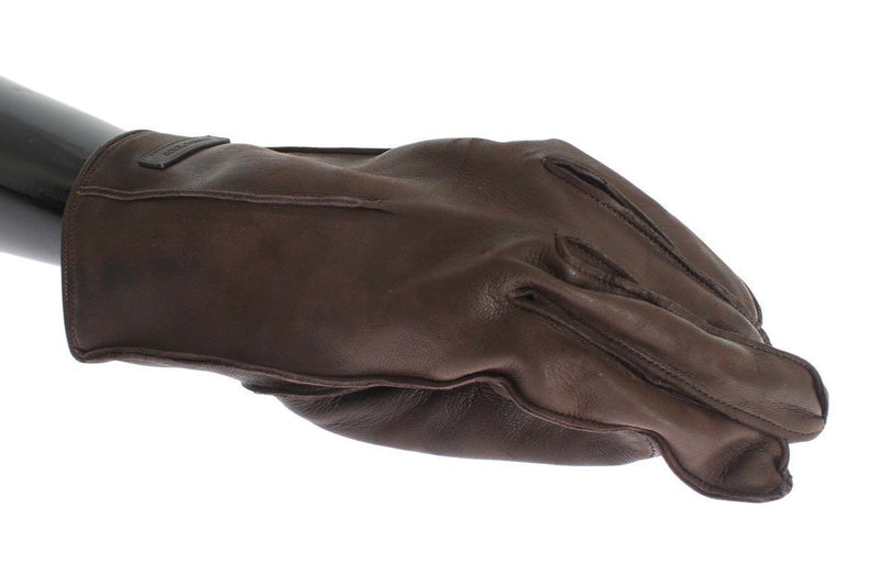 Brown Leather Cashmere Gloves