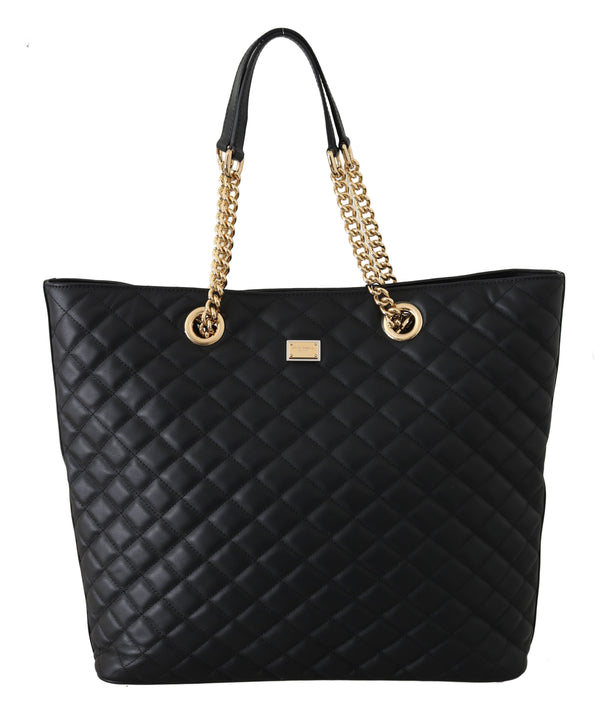 Black Quilted Leather Hand Shopping Tote Purse