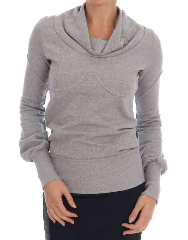 Gray Cotton Top Pullover Sweater