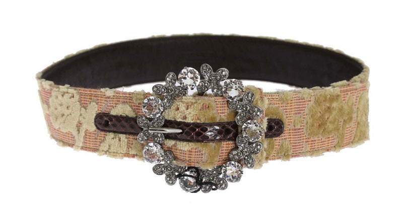 Baroque Brocade Crystal Buckle Belt