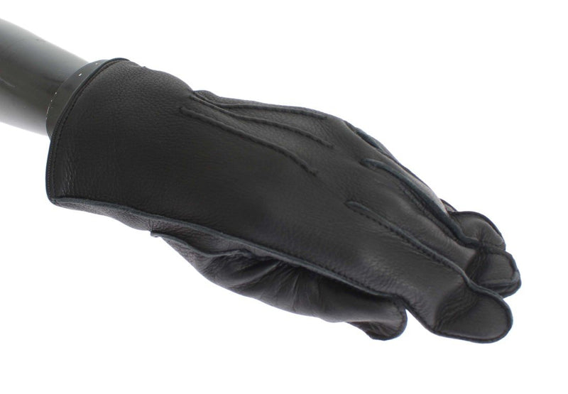 Black Leather Cashmere Gloves