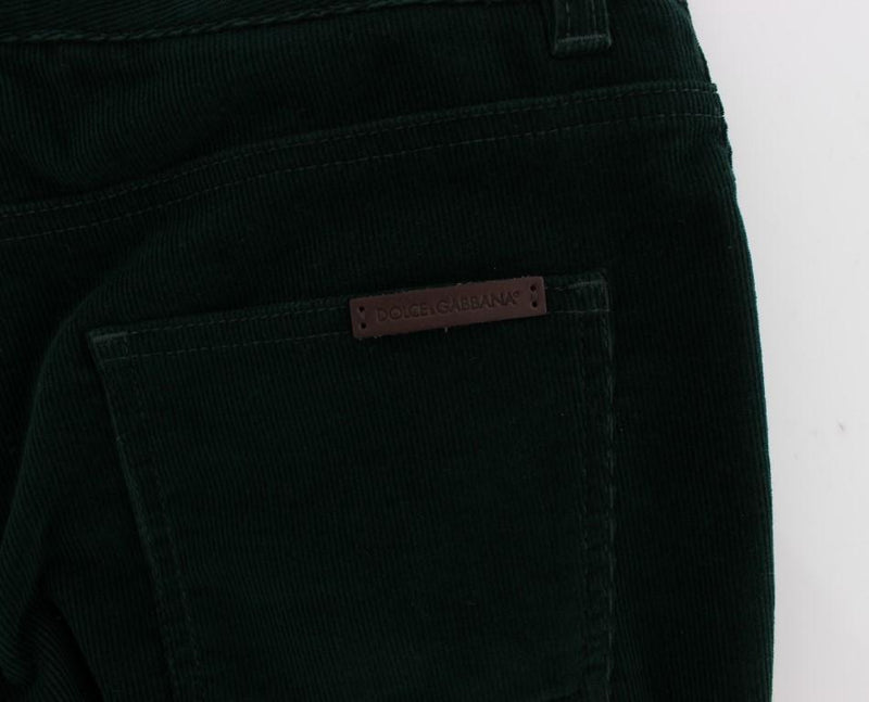Green Cotton Stretch Corduroys Jeans