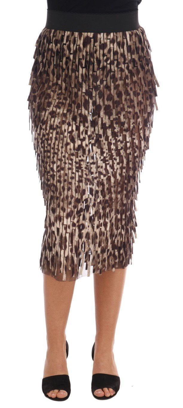 Brown Leopard Print Straigh Pencil Skirt