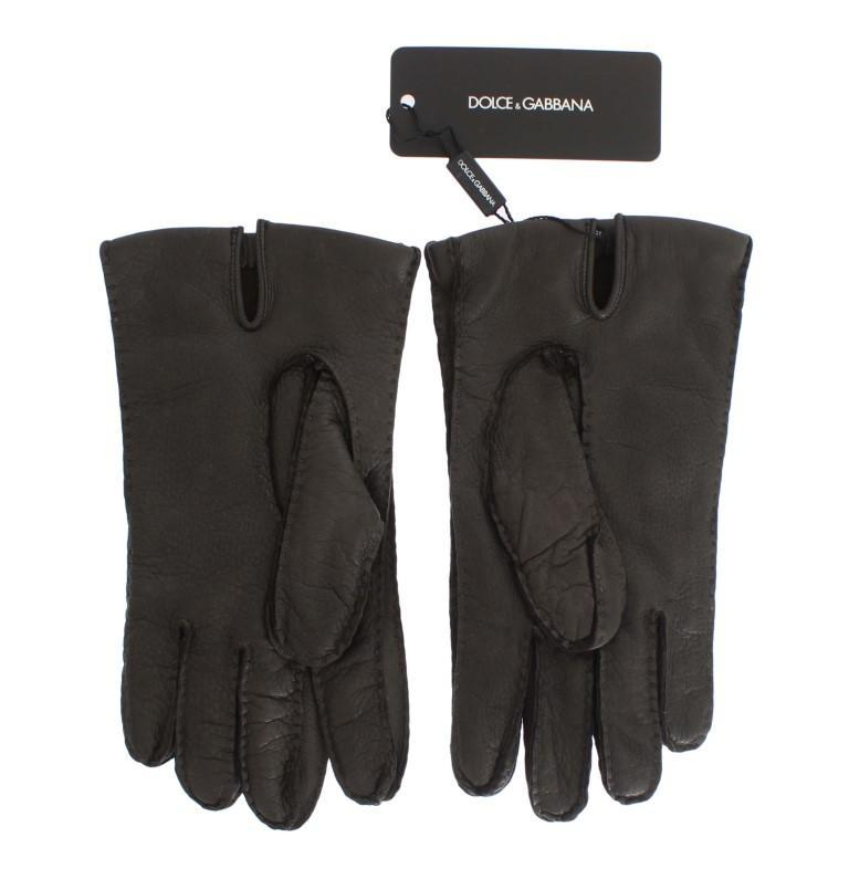 Gray Leather Cashmere Gloves