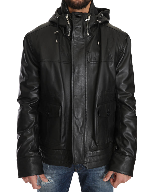 Black Leather Hooded Zipper Mens Giubbotto Jacket
