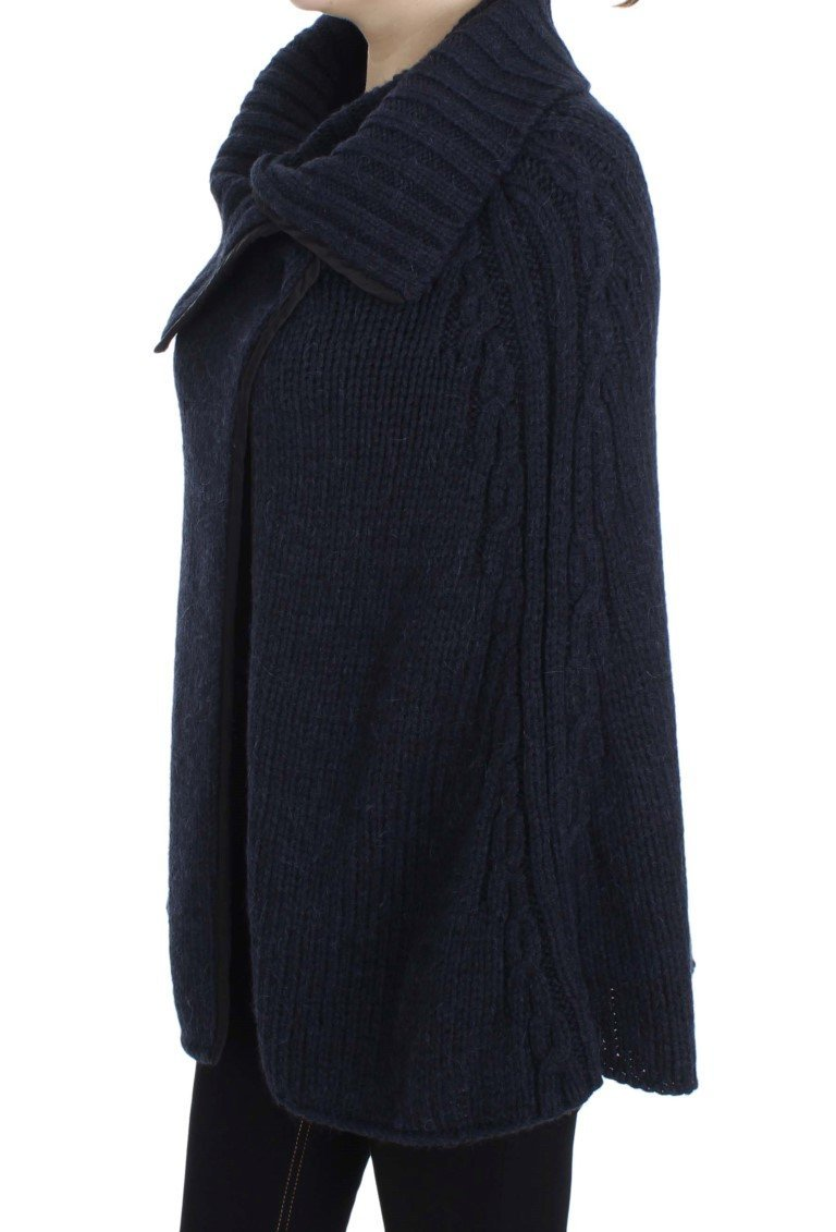 Blue Knitted Oversize Cape Sweater