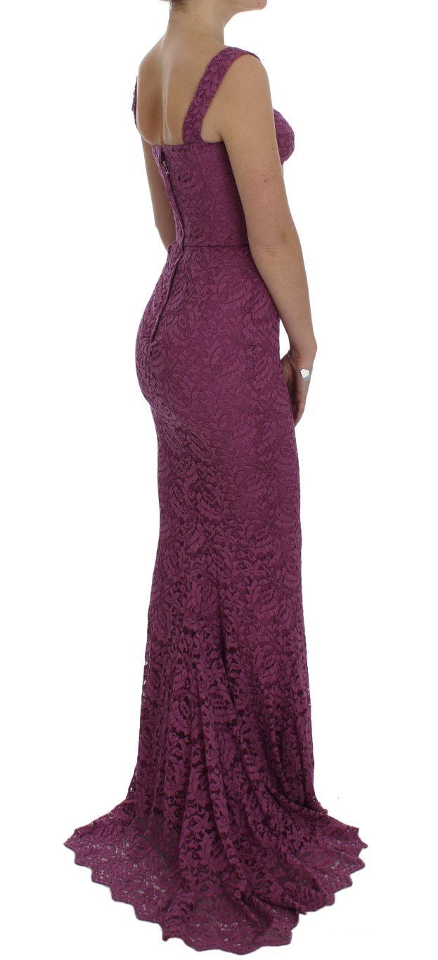 Purple Floral Lace Ricamo Maxi Dress