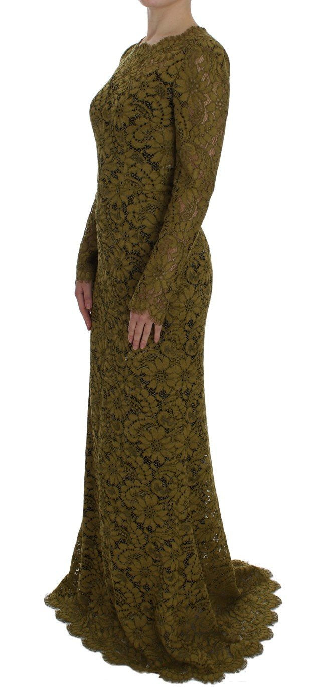 Olive Green Floral Lace Ricamo Maxi Dress