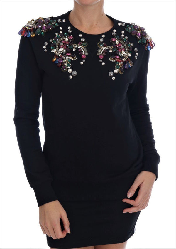 Black Cotton Crystal Crewneck Sweater