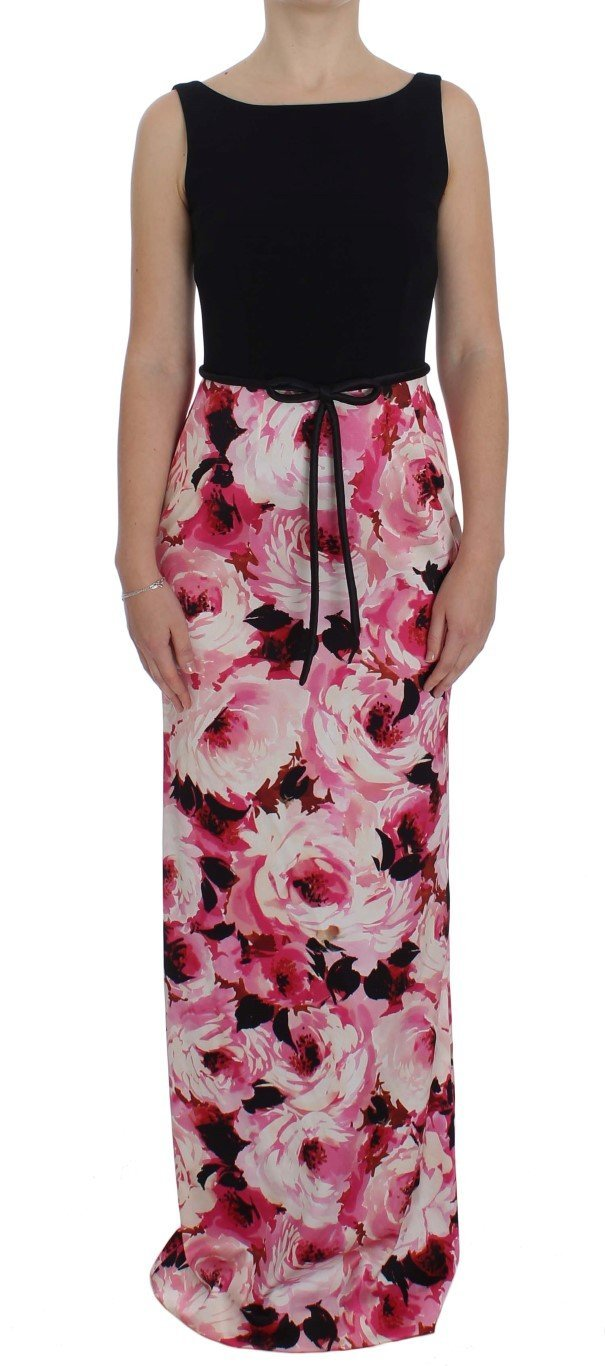 Pink Floral Print Long Maxi Sheath Dress