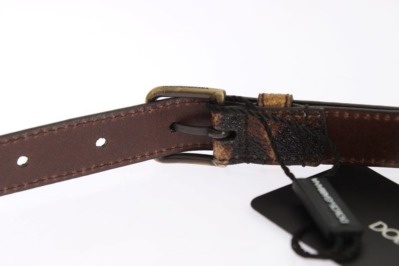 Brown Leopard Print Gold Buckle Belt