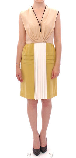 Multicolor Silk Sleeveless Above Knees Dress