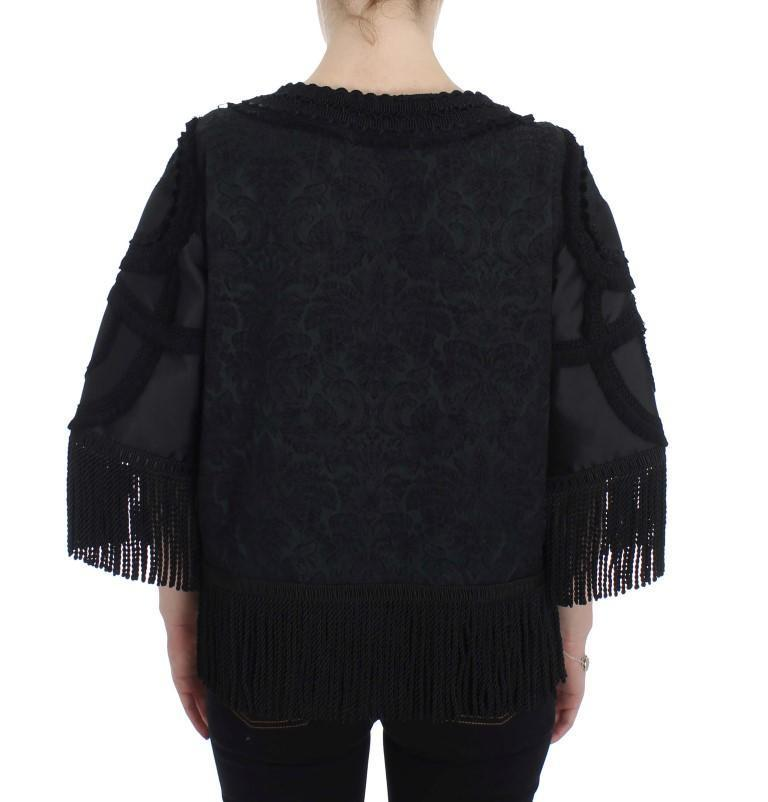 Black Torero Heart Fringes Blouse