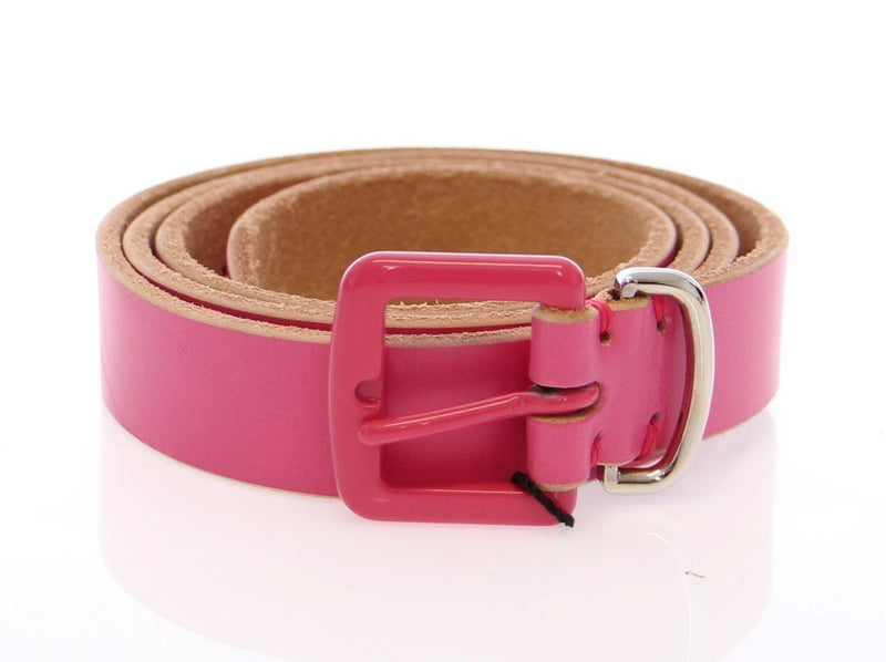 Pink Leather Logo Belt
