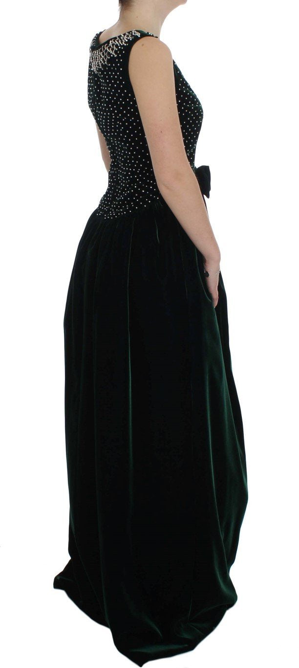 Green Velvet Crystal Long Maxi Dress