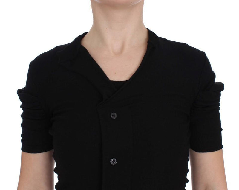 Black Wool Short Sleeve Cardigan Sweater
