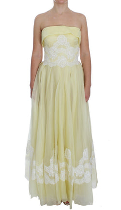 Yellow White Lace Silk Maxi Gown Dress