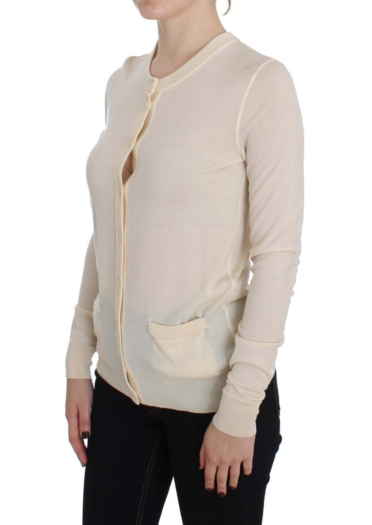 Beige Wool Long Sleeve Cardigan Sweater