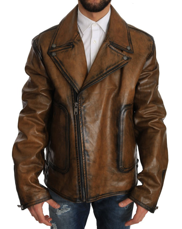 Brown Leather Biker Motorcycle Jacket