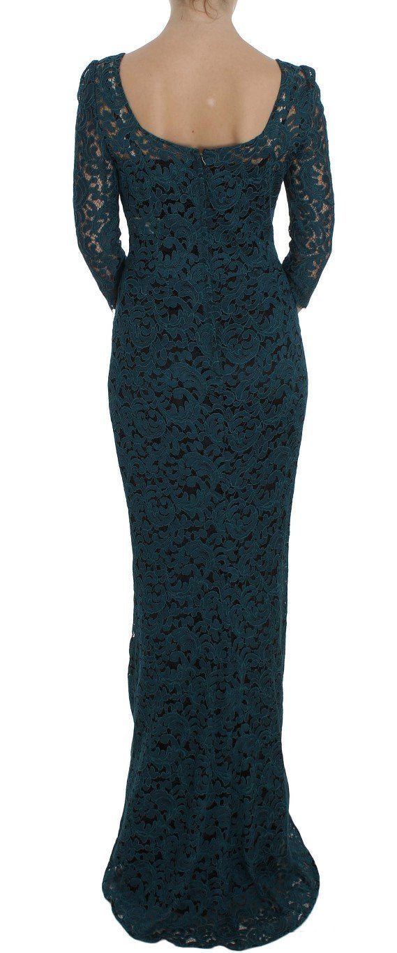 Blue Floral Lace Bodycon Maxi Ball Dress