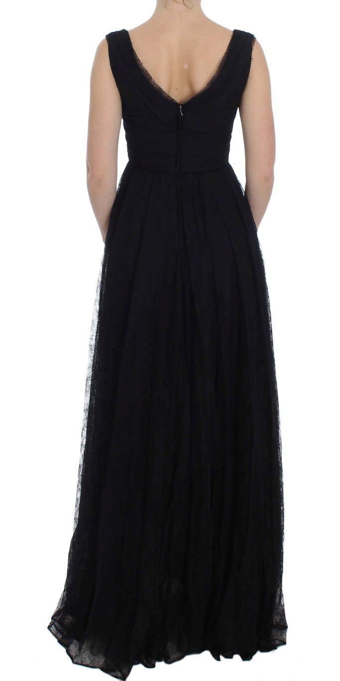 Black Floral Lace Sheath Maxi Dress