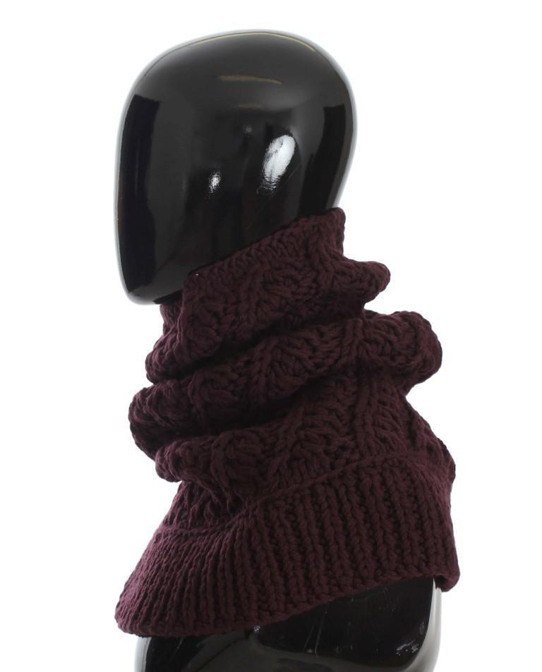 Bordeaux Wool Knitted Scarf