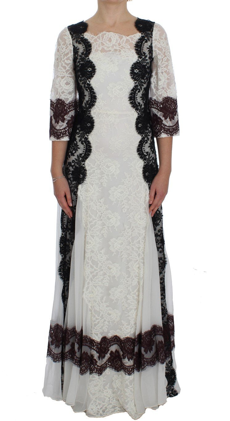 White Floral Lace Full Length Gown Dress