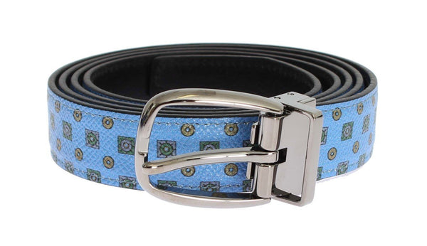 Blue Leather Silver Buckle Waist Belt