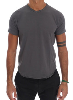 Gray Cotton Stretch V-neck T-Shirt