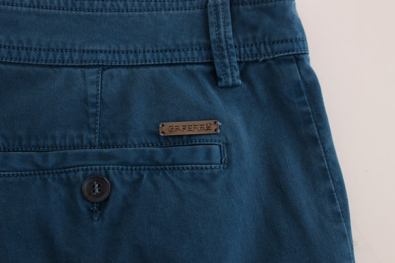 Blue Cotton Straight Fit Chinos