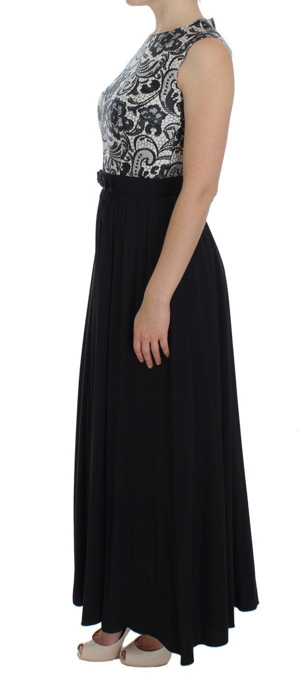 Black Floral Silk Empire Maxi Long Dress