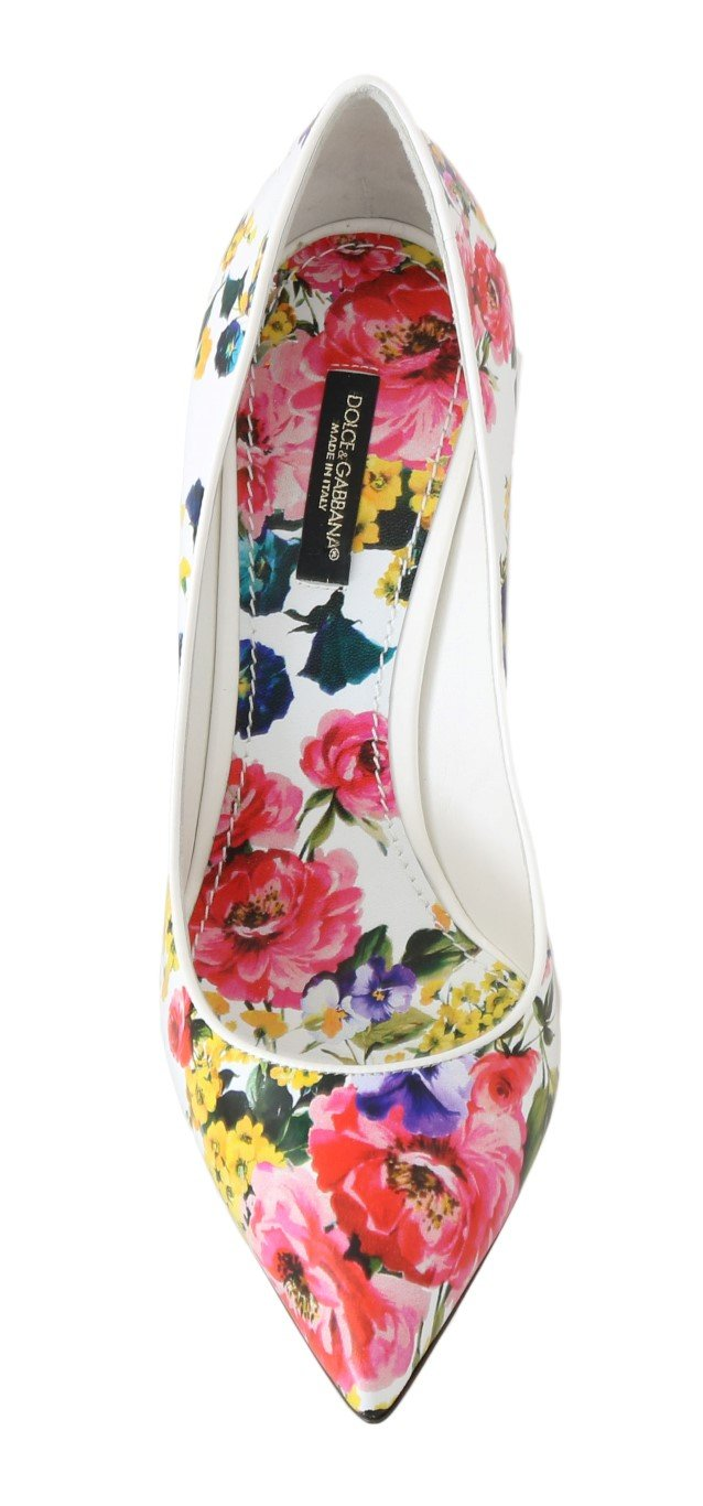 Multicolor Floral Print Leather Pumps